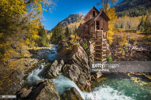 abandoned crystal mill in colorado mountain - aspen colorado stock photos and pictures