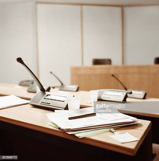 Abandoned Desk in Empty Conference Room