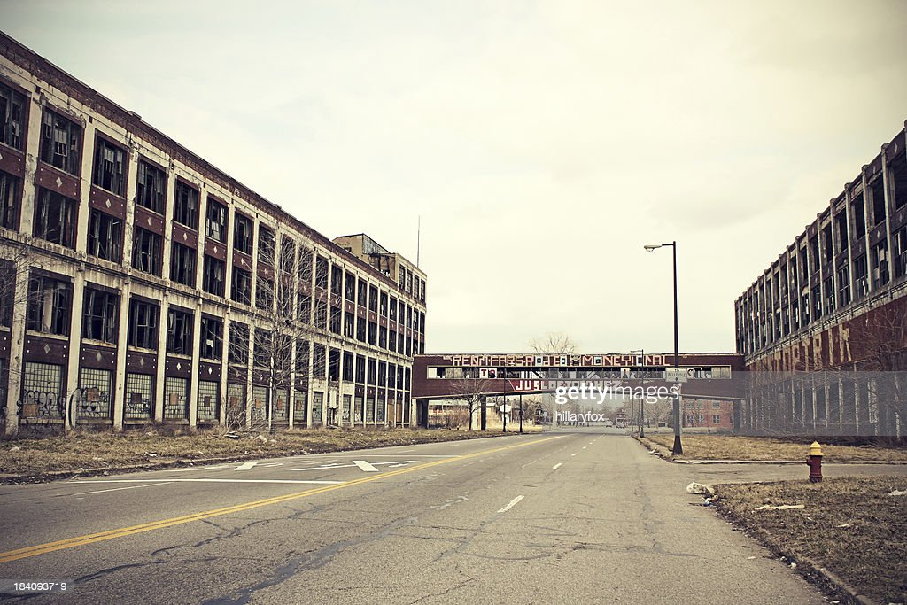 Abandoned Detroit Packard Plant : Stock Photo