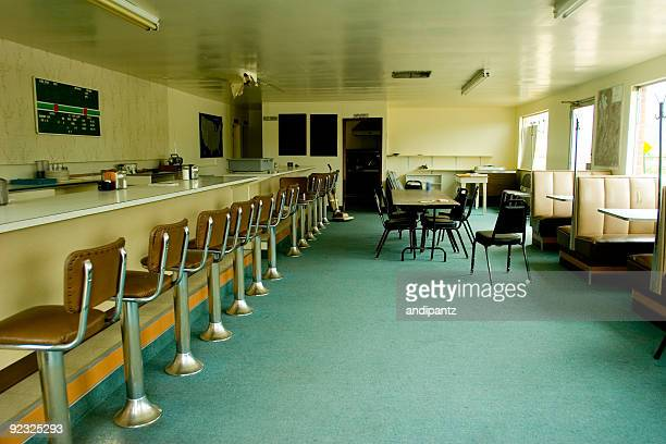 abandoned diner - vintage restaurant stock pictures, royalty-free photos & images