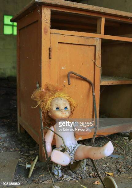 abandoned doll within the chernobyl exclusion zone - chernobyl disaster stock pictures, royalty-free photos & images