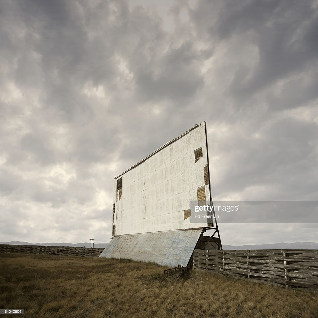 Abandoned Drivein Movie Theater Screen Stock Photo