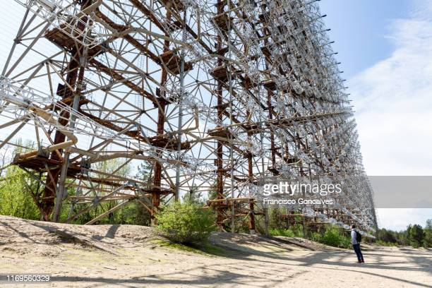 abandoned duga radar in the chernobyl exclusion zone - 国境 ストックフォトと画像