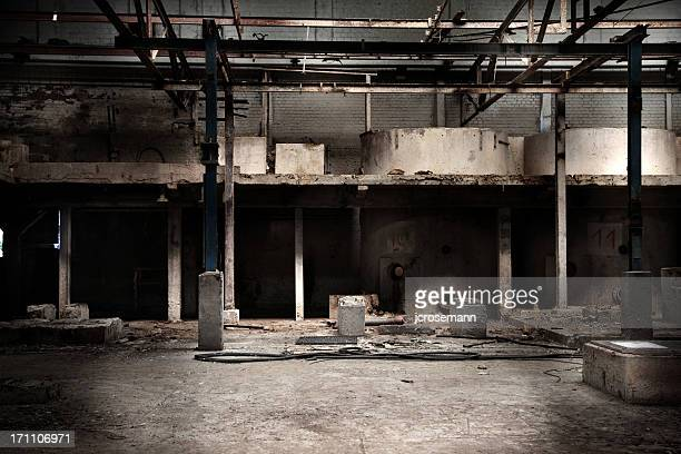 abandoned factory hall - abandoned stock pictures, royalty-free photos & images