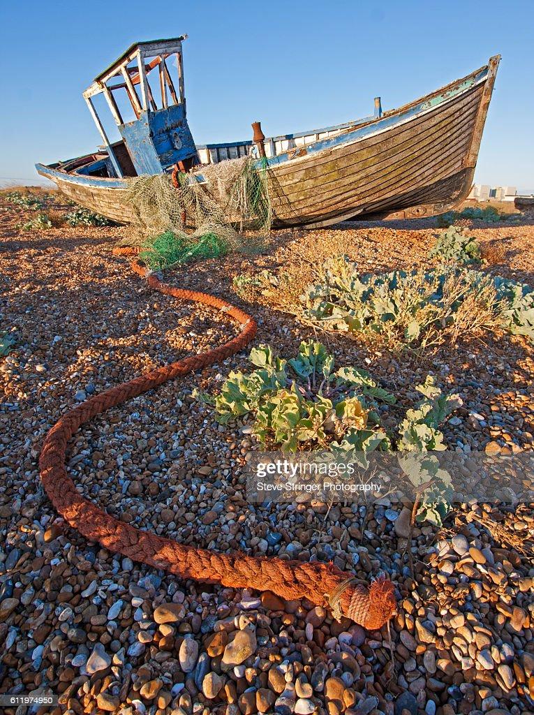 Abandoned Fishing Boat, Dungeness : Stock Photo