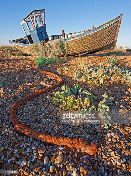 abandoned fishing boat, dungeness - dungeness stock pictures, royalty-free photos & images