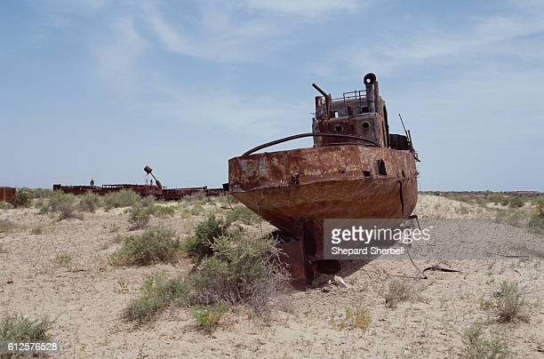 Abandoned Fishing Vessel in Receded Area of Aral Sea