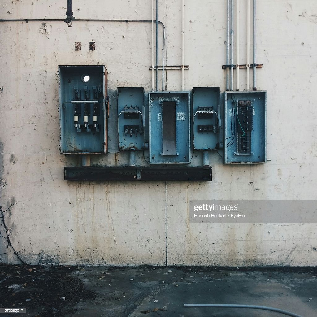 Abandoned Fuse Box On Wall : Stock Photo