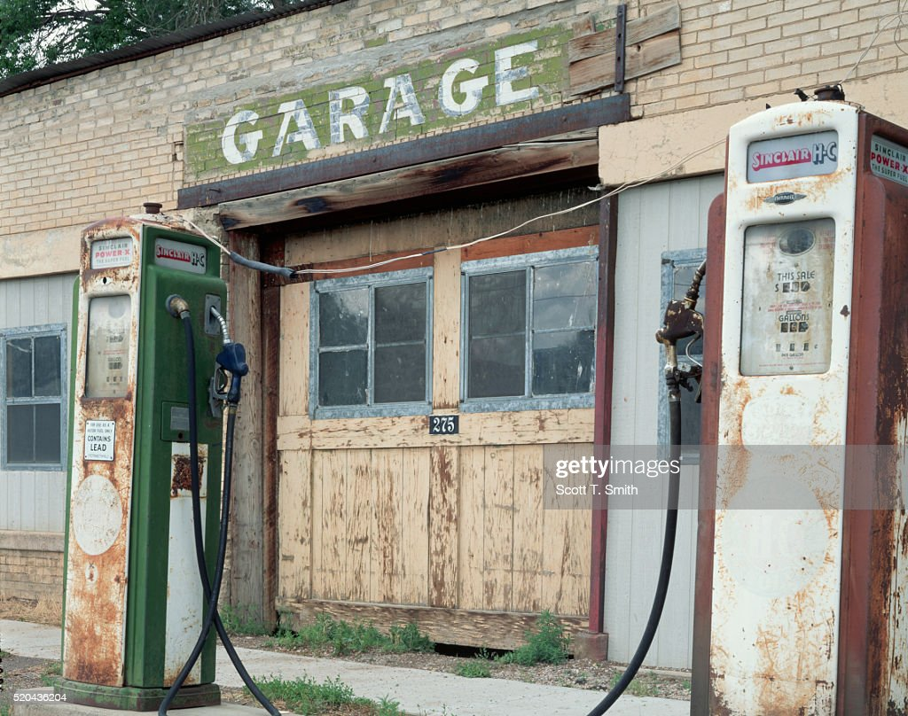 Abandoned Gas Station And Old Fuel Pumps High Res Stock Photo Getty Images