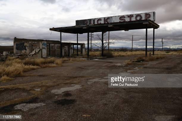 Abandoned gas station at Sierra Blanca, Texas, USA
