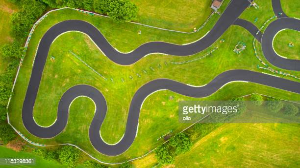 abandoned go-cart track - aerial view - motor racing track stock pictures, royalty-free photos & images