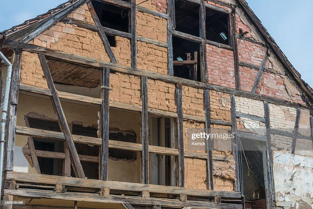 Abandoned half-timbered house : Stock Photo