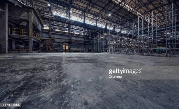 abandoned heavy engineering workshop, shenyang, liaoning province, china - abandoned stock pictures, royalty-free photos & images