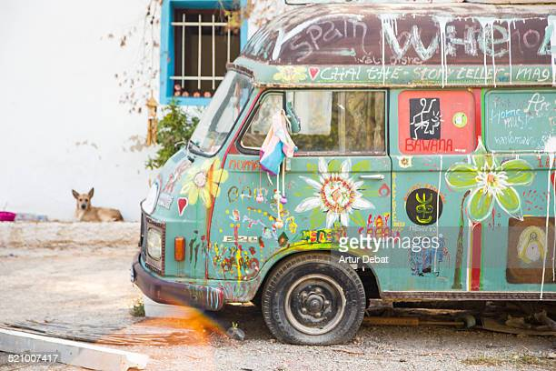Abandoned hippie van used for living during the hippie movement in the island of Ibiza Balearic Islands Europe