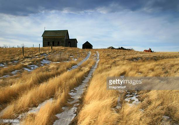 Abandoned Homestead on the Great Plains in Winter