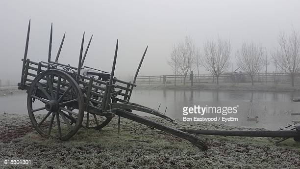 Abandoned Horse Cart During Foggy Weather