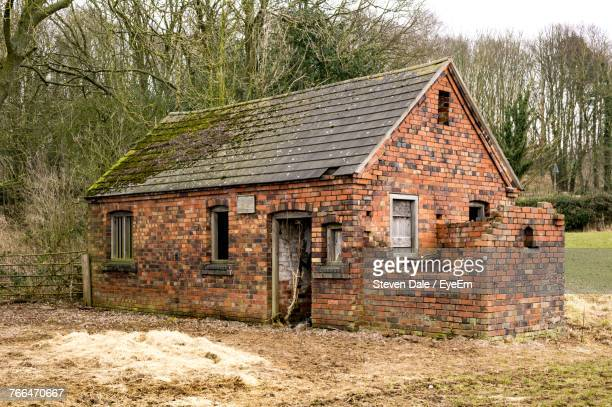 abandoned house against sky - stoke on trent stock photos and pictures