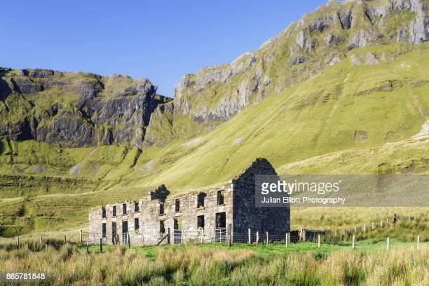 Abandoned house amongst the slopes of Benbulbin, Ireland.