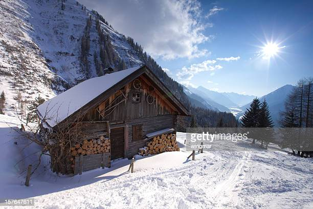 abandoned hut in tirol austria - lech stock photos and pictures