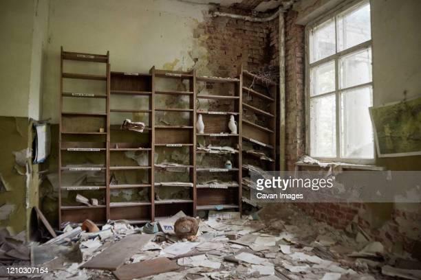 abandoned kindergarten in chernobyl, ukraine. kindergarten with toys and abandoned things - chernobyl nuclear power plant stock pictures, royalty-free photos & images
