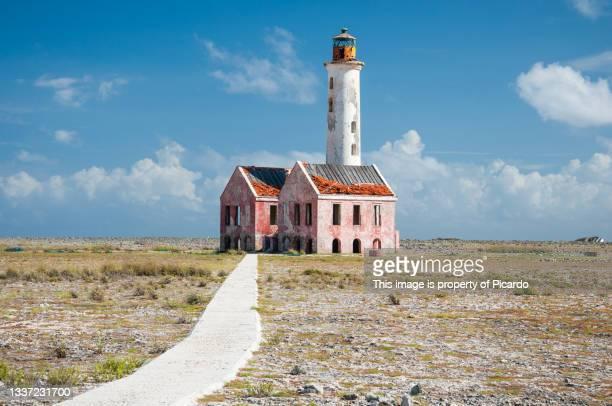 abandoned lighthouse in the lonely island of klein curacao, curacao, netherland antilles. - klein bildbanksfoton och bilder
