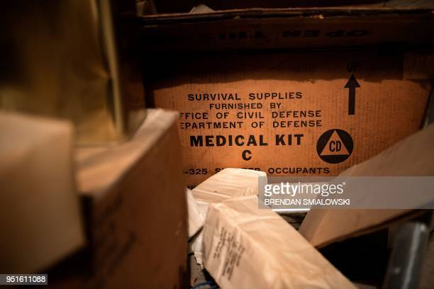 Abandoned medical and other supplies are seen in a former Civil Defense fallout shelter beneath the OysterAdams School April 17 2018 in Washington DC...