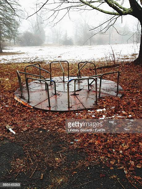 Abandoned Merry-Go-Round In Playground