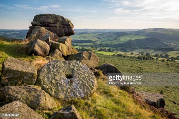 Abandoned millstone on Baslow edge, Peak District, Derbyshire