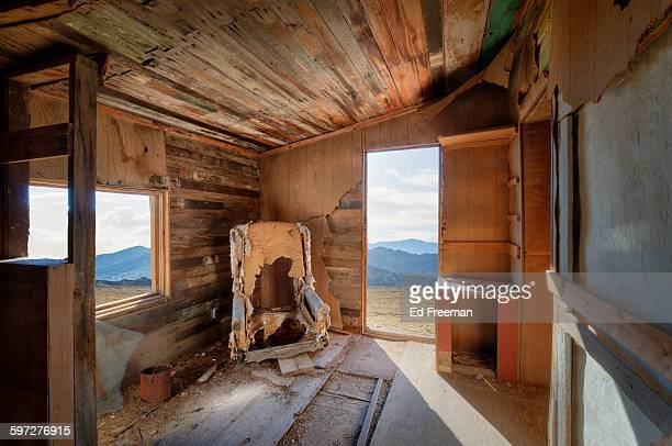 abandoned miner's cabin interior - nevada stock pictures, royalty-free photos & images
