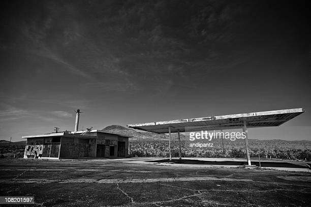 Abandoned, Old Gas Station in Middle of Desert