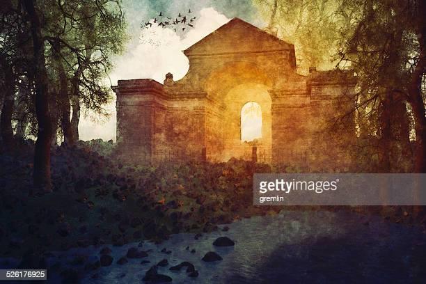 Abandoned old mausoleum, dark, haunted, graveyard