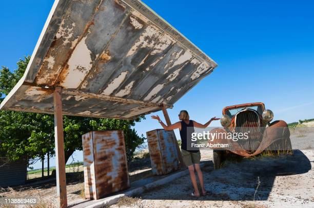 abandoned petrol station - franz aberham stock photos and pictures