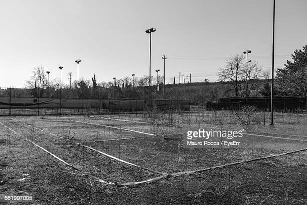 Abandoned Playing Field With Floodlights