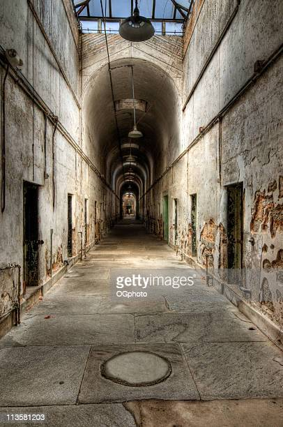 Abandoned prison cell block