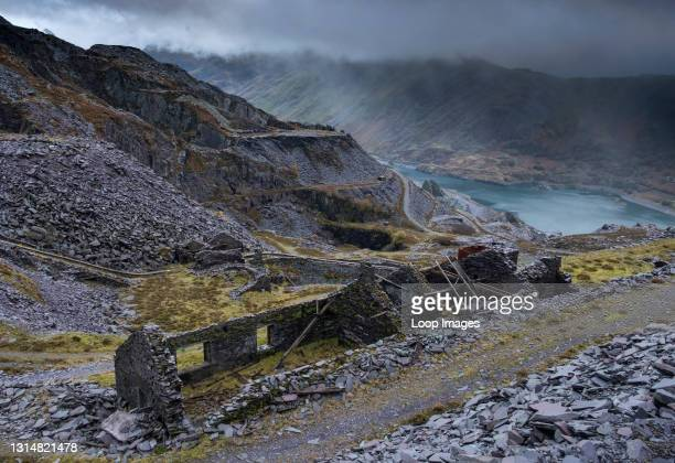 Abandoned quarry building at Dinorwic Slate Quarry in Snowdonia.