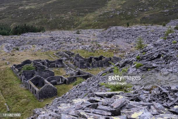 Abandoned quarryman's barracks at Rhiw Bach disused quarry in Cwm Penmachno in Snowdonia.