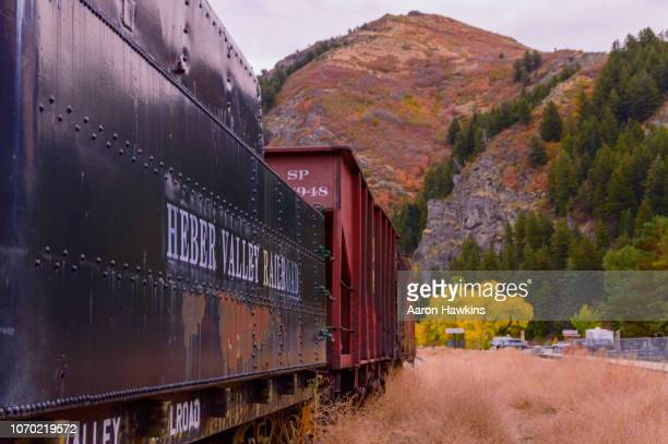 abandoned railcars in vivian park, provo canyon, utah - provo stock pictures, royalty-free photos & images