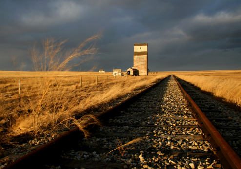 Abandoned Railway And Train Track on the Prairie 157192029