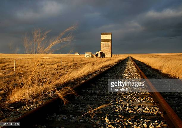 abandoned railway and train track on the prairie - rail transportation stock pictures, royalty-free photos & images