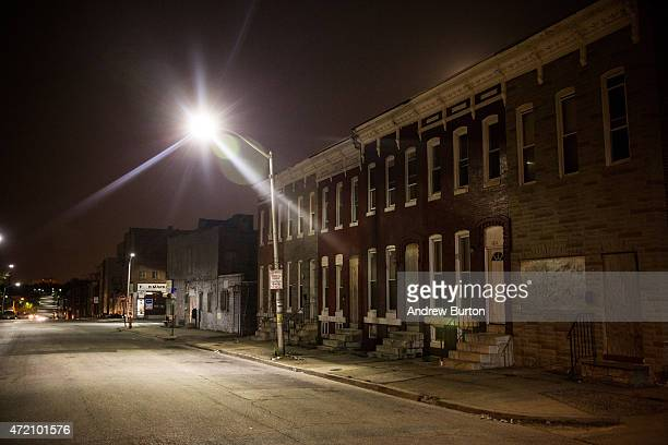 Abandoned row houses are shown in the Sandtown neighborhood where Freddie Gray was arrested on May 3 2015 in Baltimore Maryland Gray later died in...