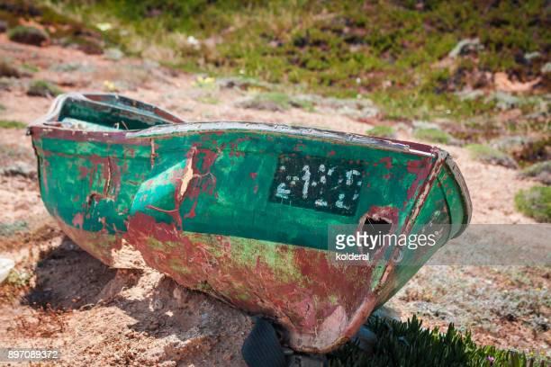 Abandoned rowboats on the Mediterranean coast