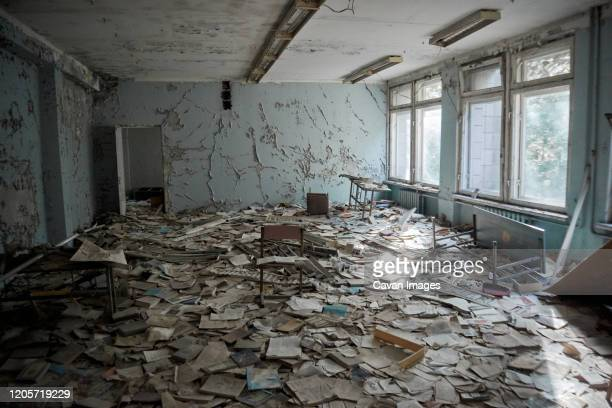 abandoned school number 13 in the city of pripyat, chernobyl, ukraine - chernobyl nuclear power plant stock pictures, royalty-free photos & images