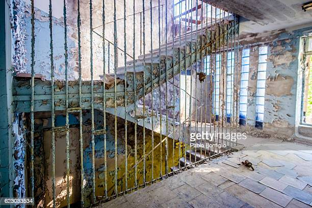 Abandoned school stairway in the Chernobyl Exclusion Zone, Pripyat, Ukraine