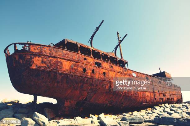 Abandoned Ship Against Clear Sky