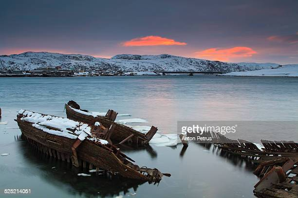 abandoned ship in the north landscape - anton petrus stock pictures, royalty-free photos & images