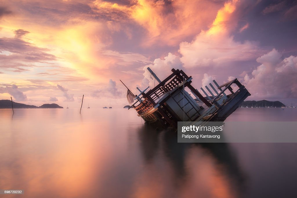 Abandoned ship Phuket : Stock Photo