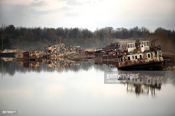 abandoned ships in a port - chernobyl stock pictures, royalty-free photos & images