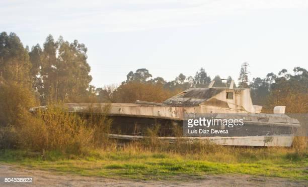 abandoned speedboat