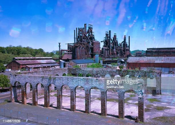 abandoned steel factory - bethlehem stock pictures, royalty-free photos & images
