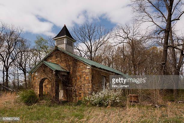 Abandoned stone church in rural Arkansas